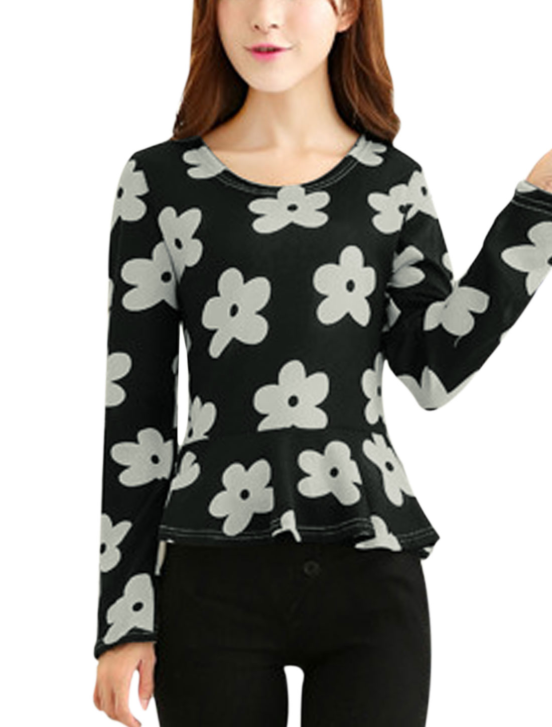 Ladies Round Neck Long Sleeve Floral Prints Chic Knit Peplum Top Black XS