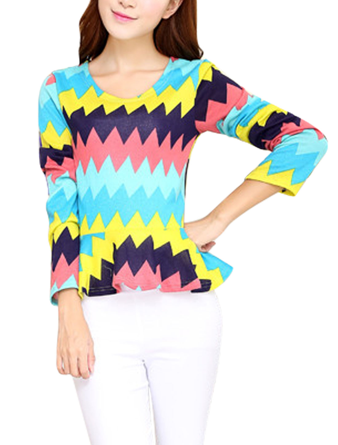 Women Zig-zag Pattern Long Sleeve Light Peplum Knit Top Multicolor XS