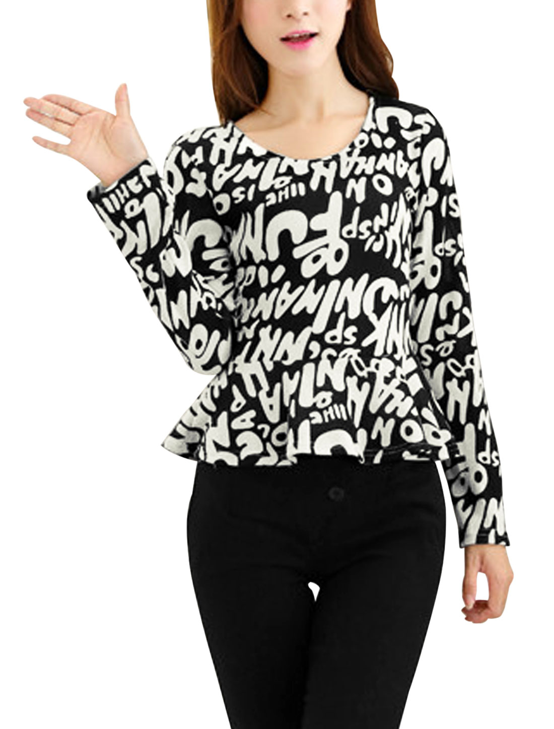 Ladies Letters Pattern Round Neck Ligth Peplum Knit Top Black XS