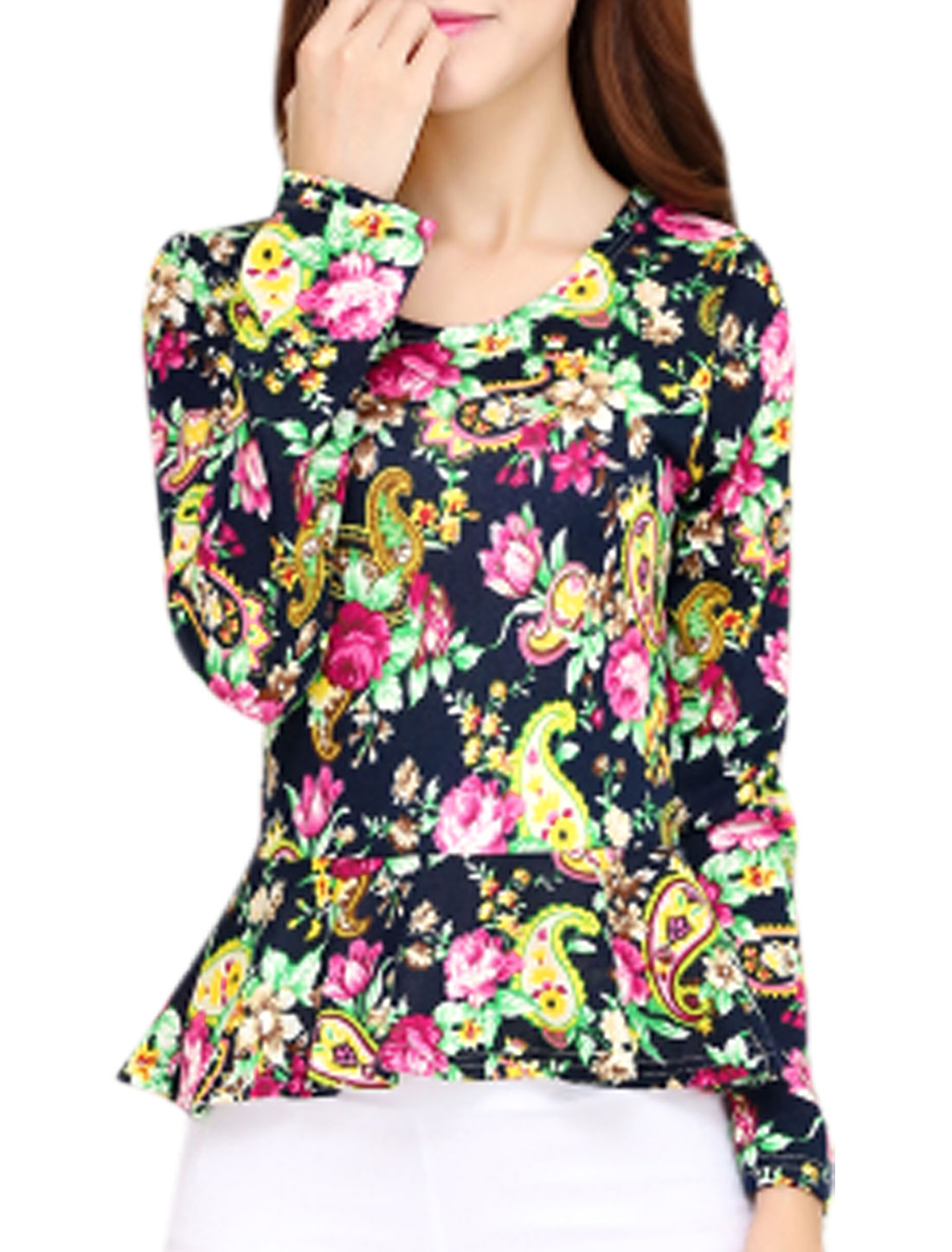 Women Paisleys Floral Pattern Long Sleeve Casual Peplum Top Multicolor XS