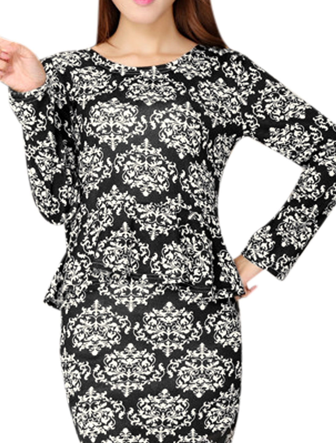 Lady Jacquard Pattern Round Neck Long Sleeve Peplum Top White Black XS