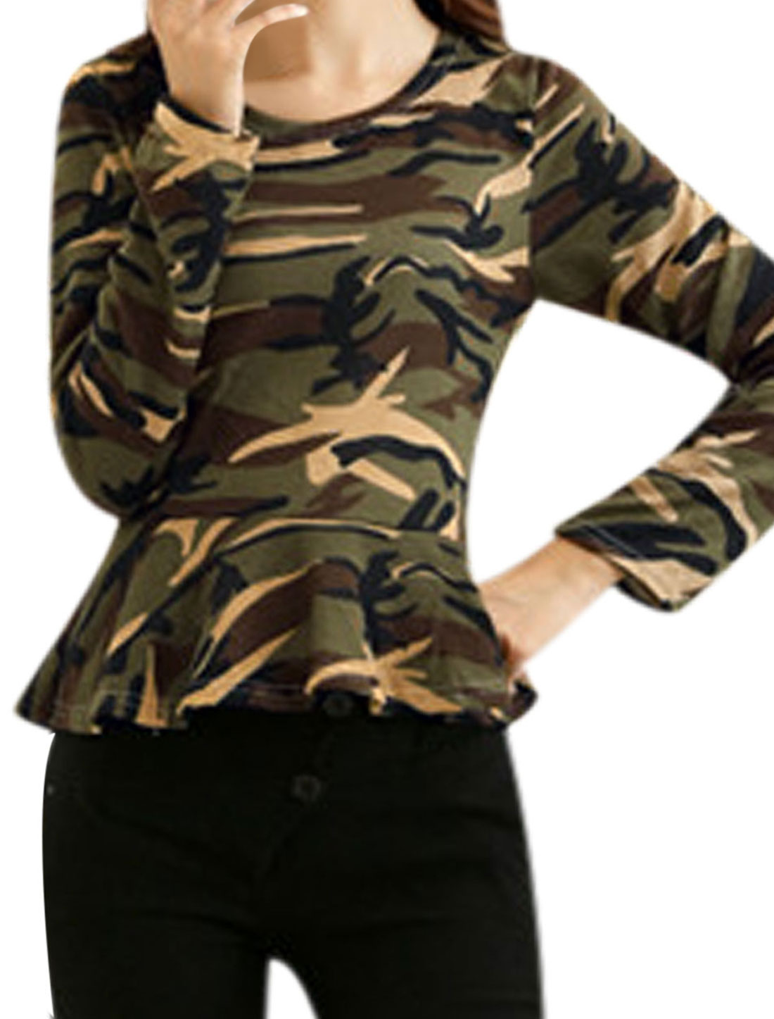 Women Army Green Round Neck Camouflage Pattern Knitting Peplum Top XS