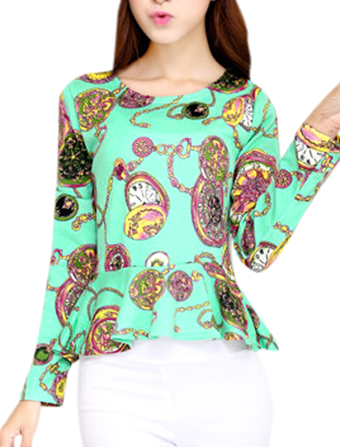 Lady Pocket Watch Pattern Round Neck Long Sleeve Leisure Peplum Top Mint XS