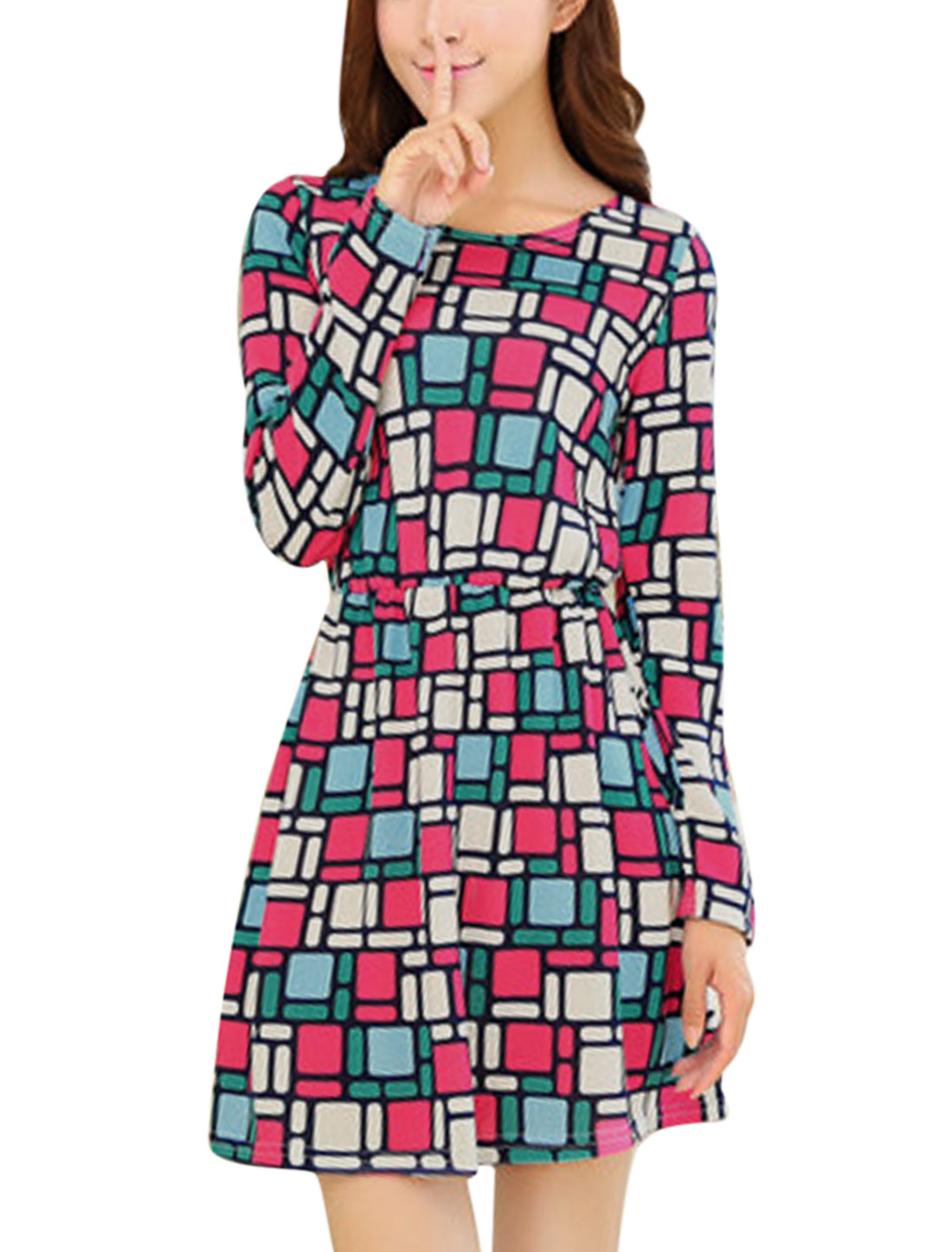 Lady Geometric Prints Long Sleeve Knit A Line Dress Fuchsia Beige XS