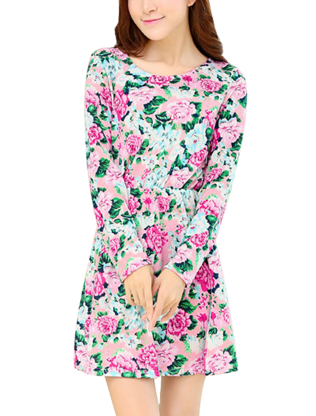 Lady Floral Pattern Elastic Waist Style Casual Dress Blue Pink XS
