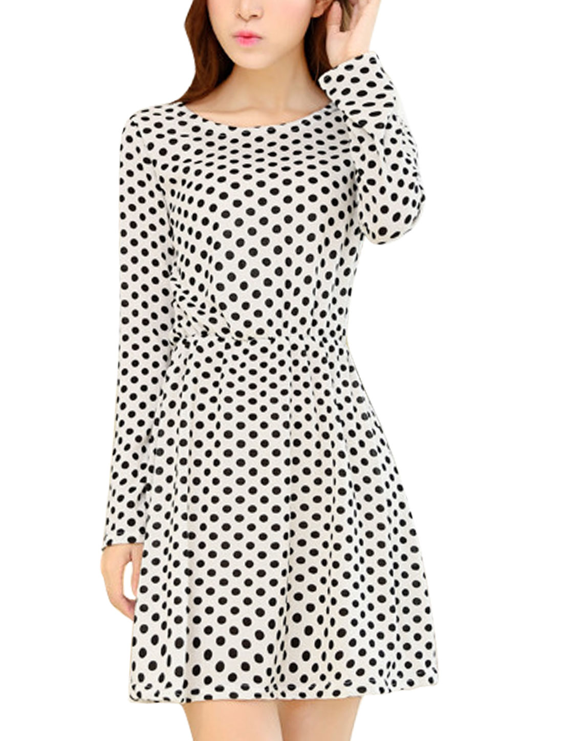 Women Sweet Allover Polka Dots Print A Line Unlined Mini Dress White XS