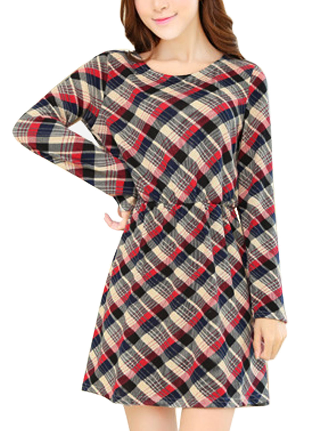 Women Fashion Elastic Waist Allover Plaids Print A Line Dress Navy Blue Red XS