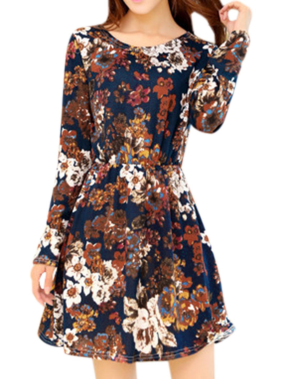 Women Floral Prints Elastic Waist Round Neck Casual Short Dress Multicolor XS