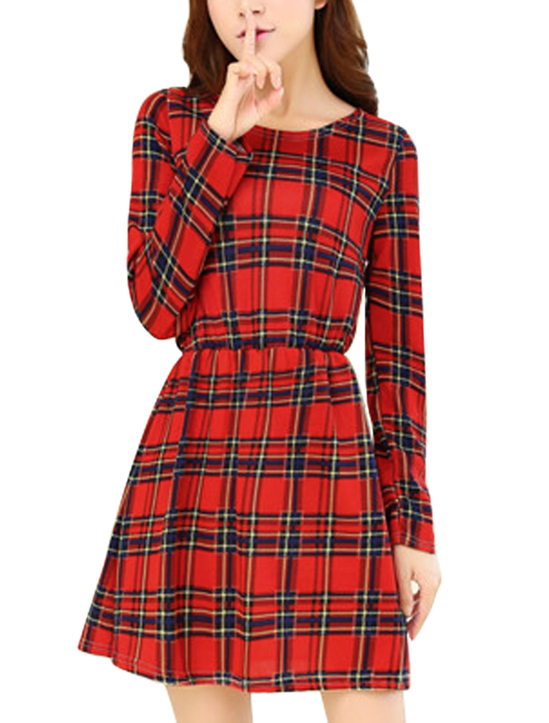Fashion Allover Check Print A Line Unlined Mini Dress for Women Red XS
