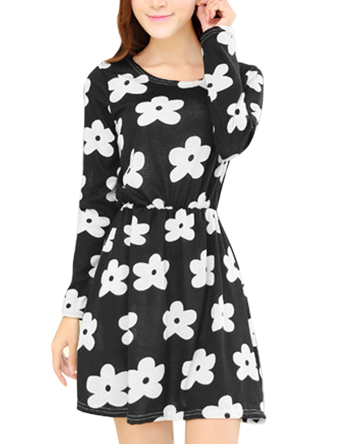 Women Round Neck Long Sleeve Floral Prints Casual A-Line Knit Dress Black XS