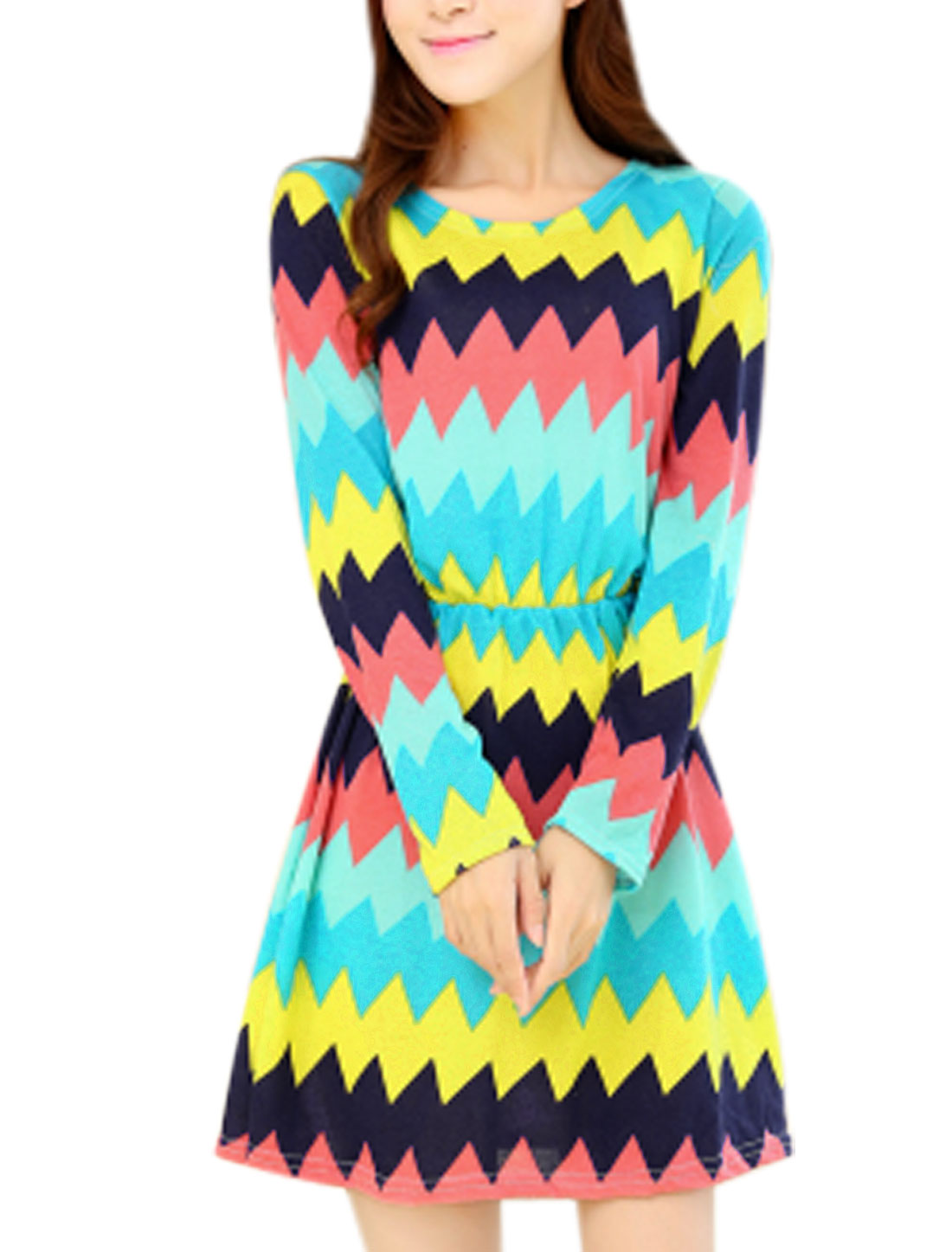 Women Stylish Allover Zigzag Print A Line Unlined Mini Dress Multicolor XS