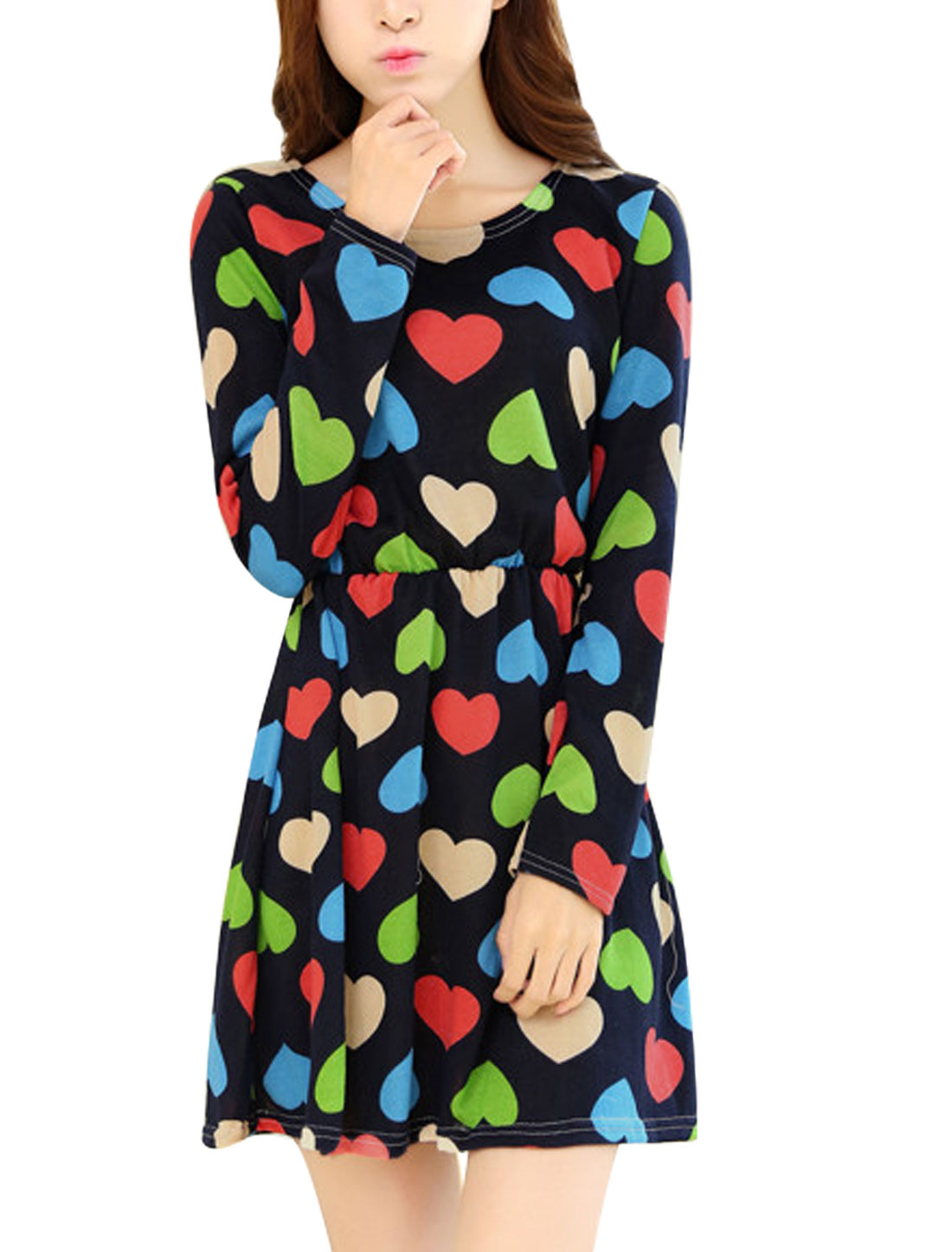 Lady Slim Fit Elastic Waist Allover Hearts Print A Line Dress Navy Blue XS