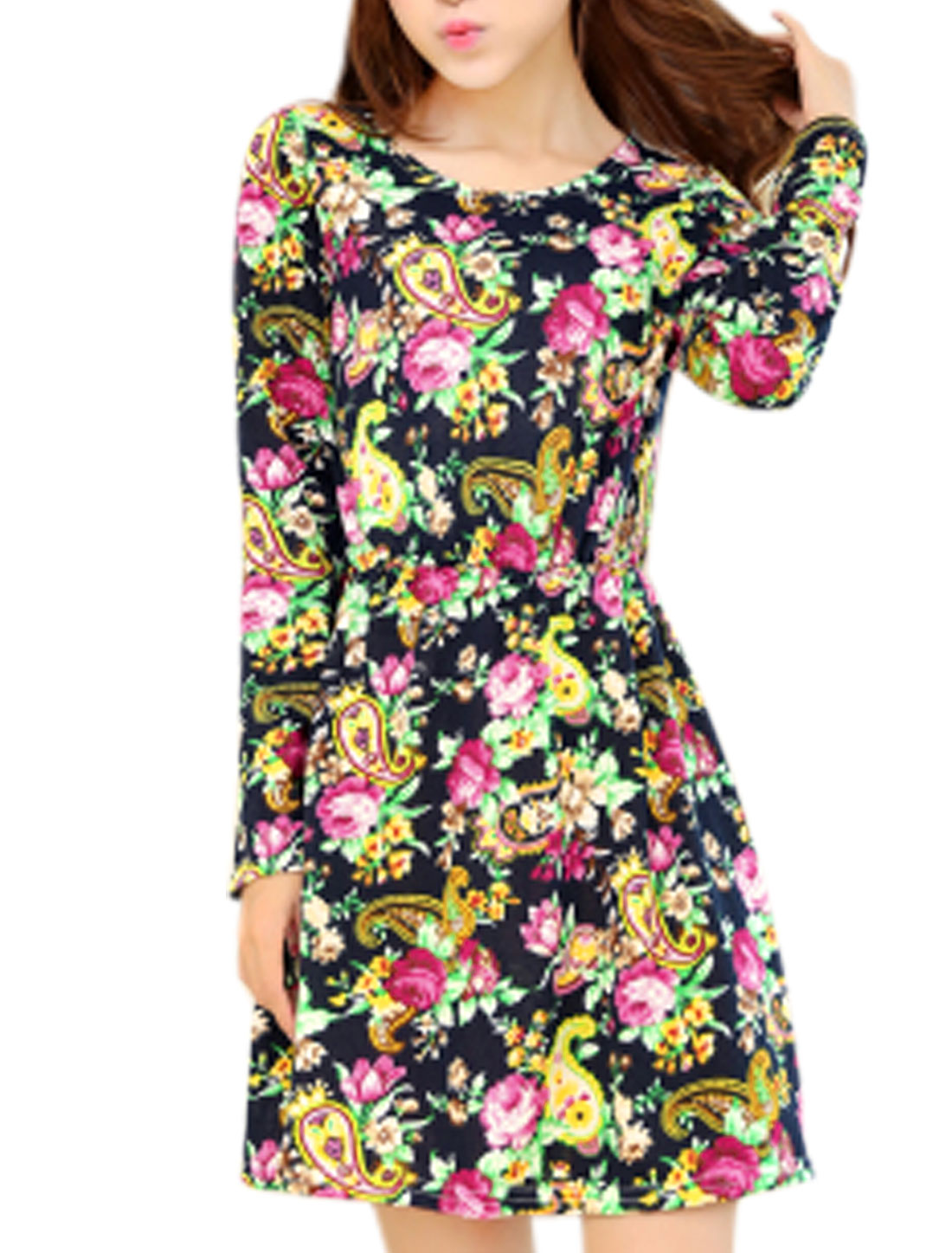 Lady Paisleys Floral Pattern Elastic Waist Long Sleeve Short Dress Multicolor XS