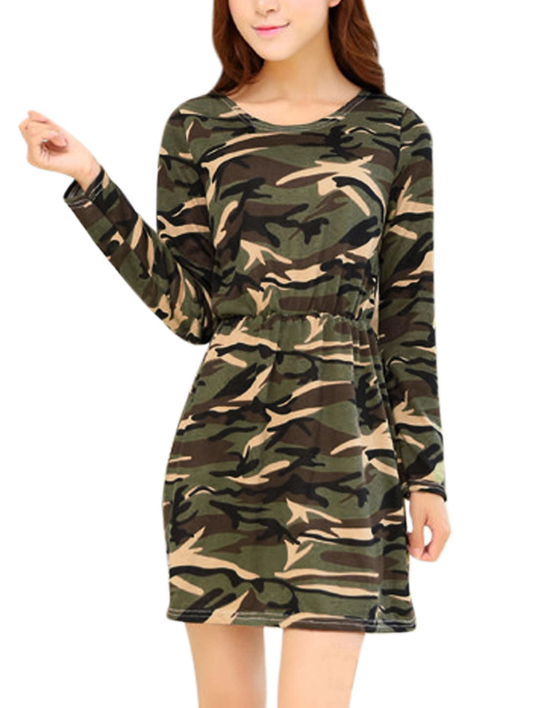 Women Chic Allover Camouflage Print A Line Unlined Dress Beige Army Green XS