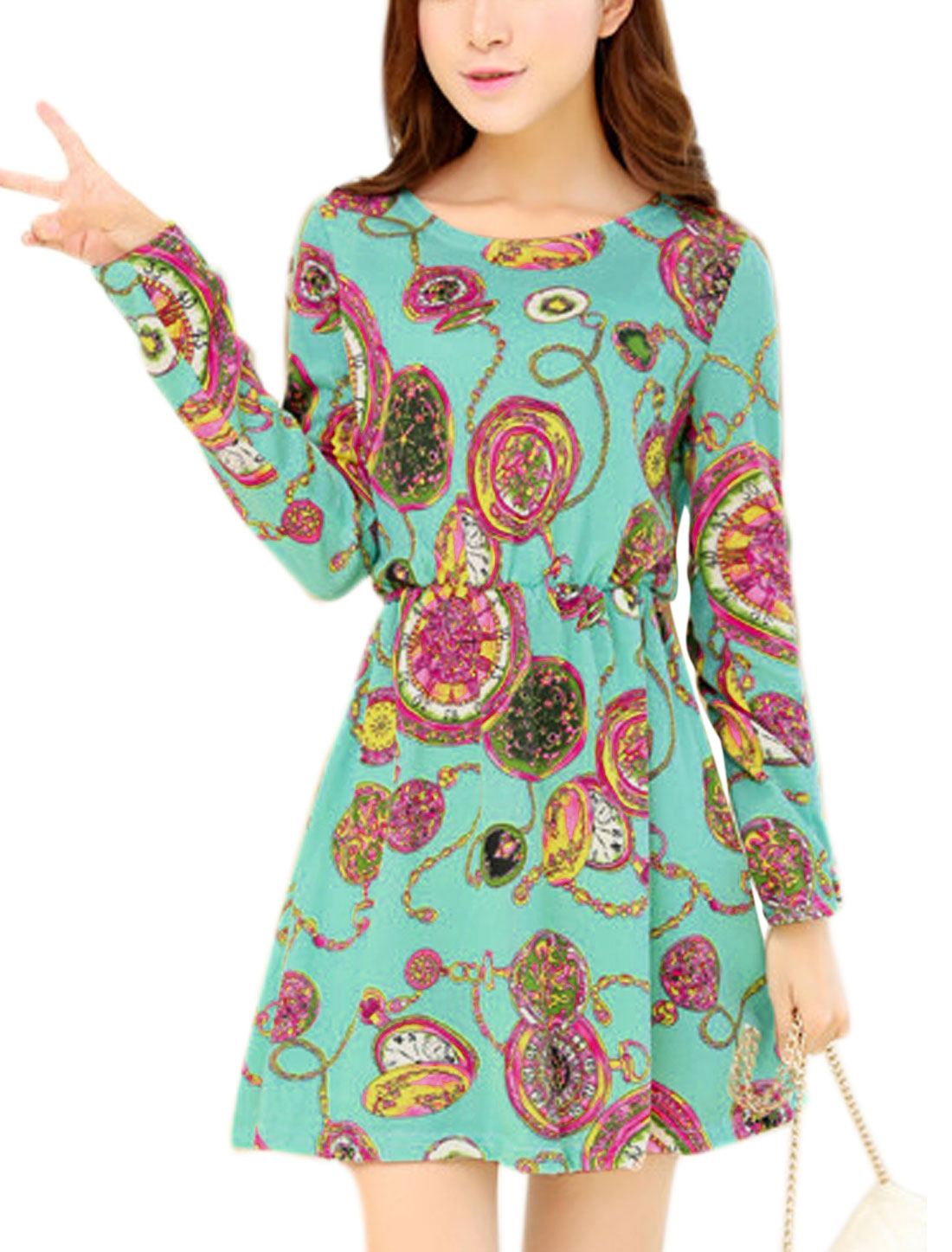 Lady Pocket Watch Prints Long Sleeve Elastic Waist Casual Short Dress Aqua XS