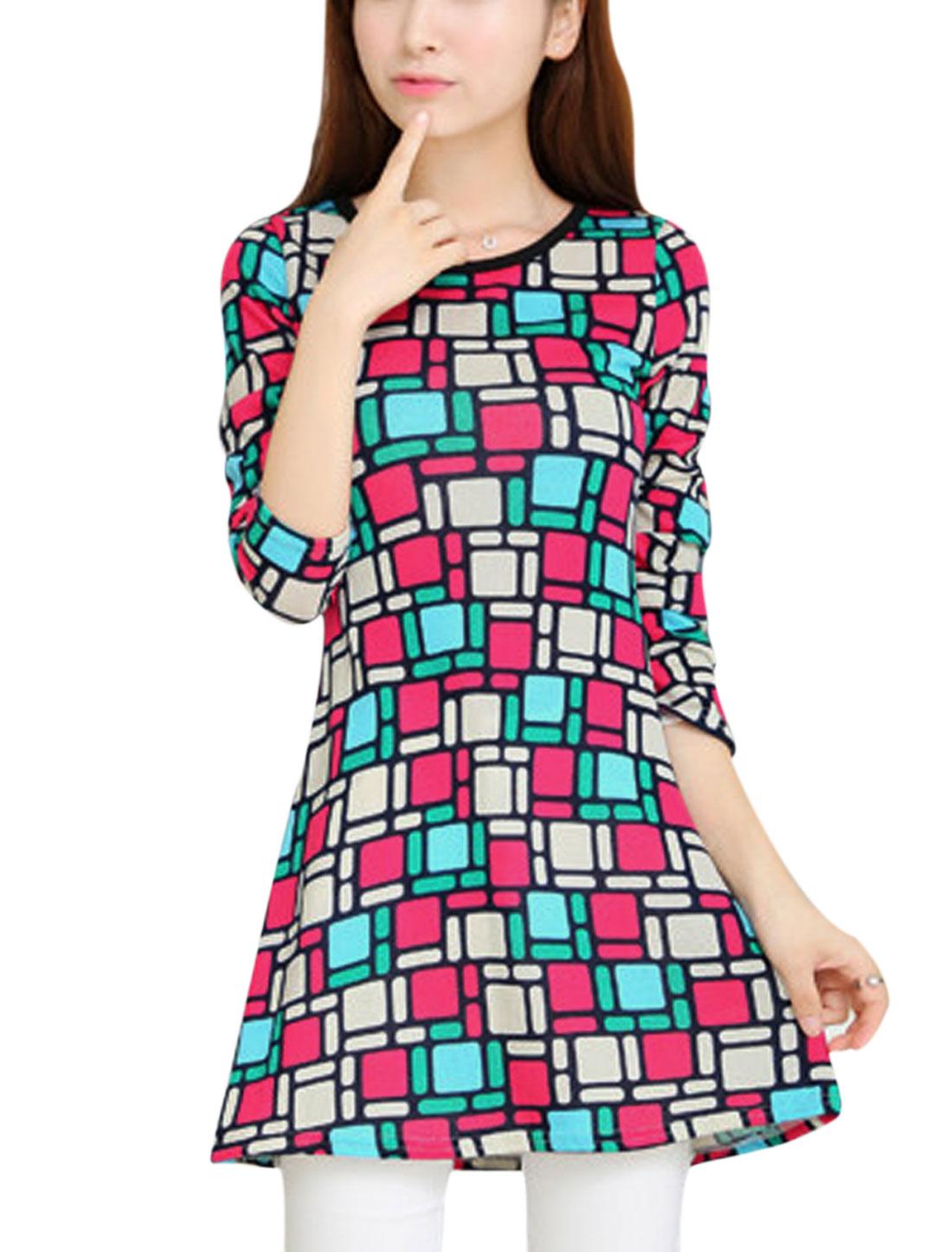 Lady Geometric Prints Long Sleeve Round Neck Tunic Dress Beige Fuchsia XS