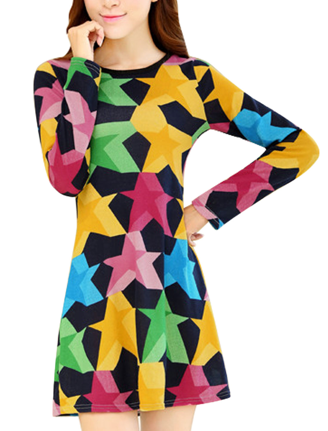 Ladies Stars Pattern Long Sleeve Round Neck Pullover Straight Dress Multicolor XS