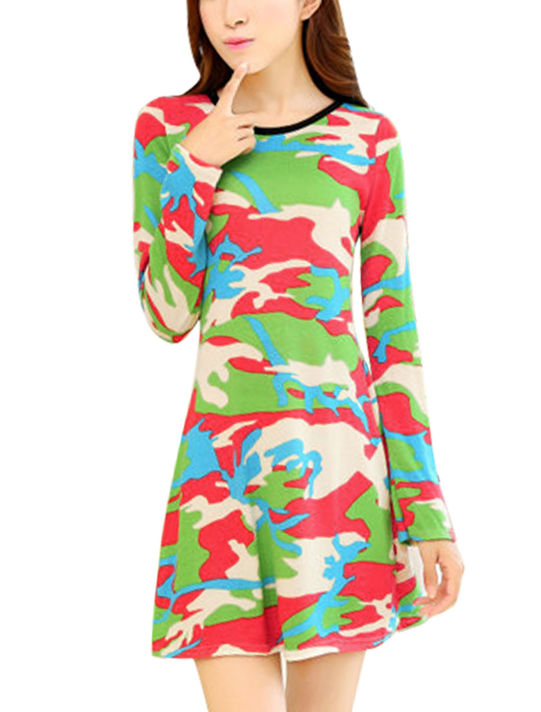 Lady Stylish Long Sleeves Allover Camo Print Straight Unlined Dress Green Coral XS