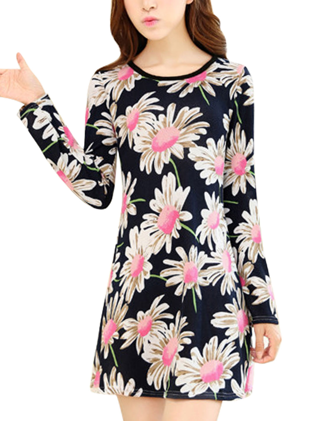 Ladies Flower Pattern Round Neck Knit A-line Dress Navy Blue XS
