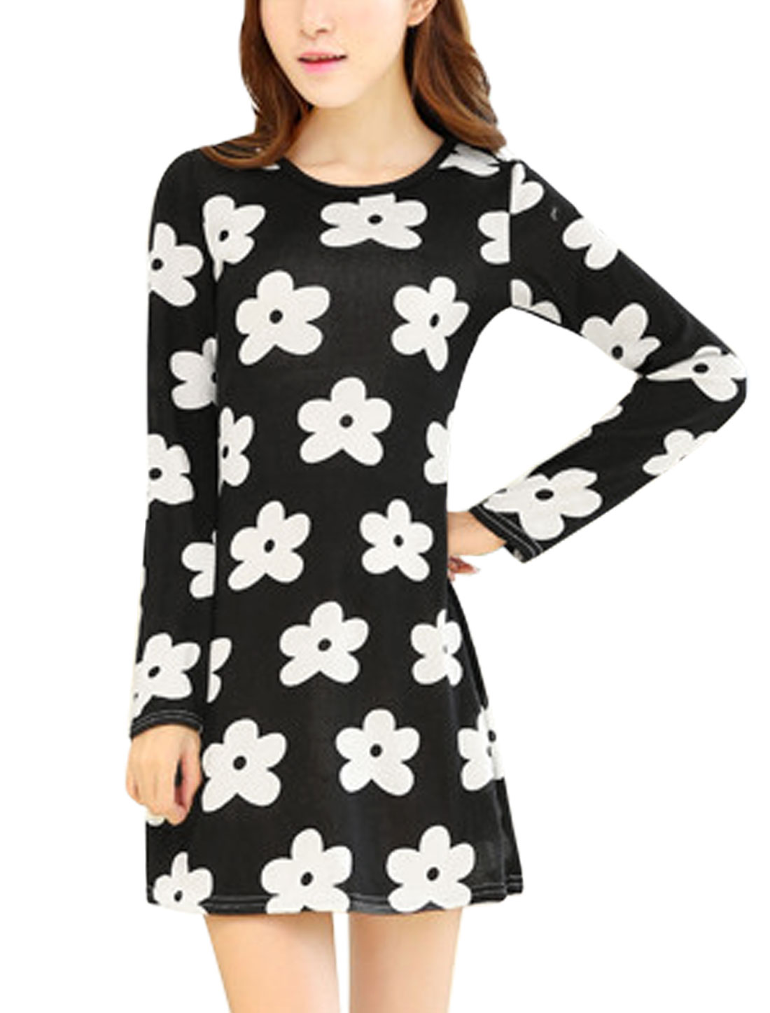 Woman Floral Prints Long Sleeves Cozy Fit Knit Dress Black XS