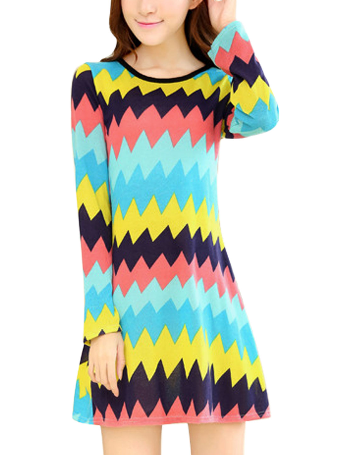 Ladies Zig-Zag Pattern Round Neck Slim Fit Long Sleeve Tunic Dress Multicolor XS