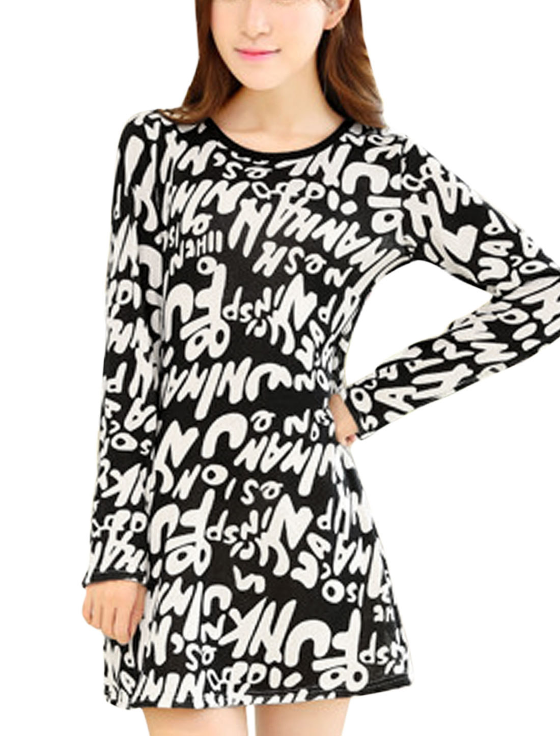 Lady Long Sleeve Letters Prints Round Neck Tunic Dress Black XS
