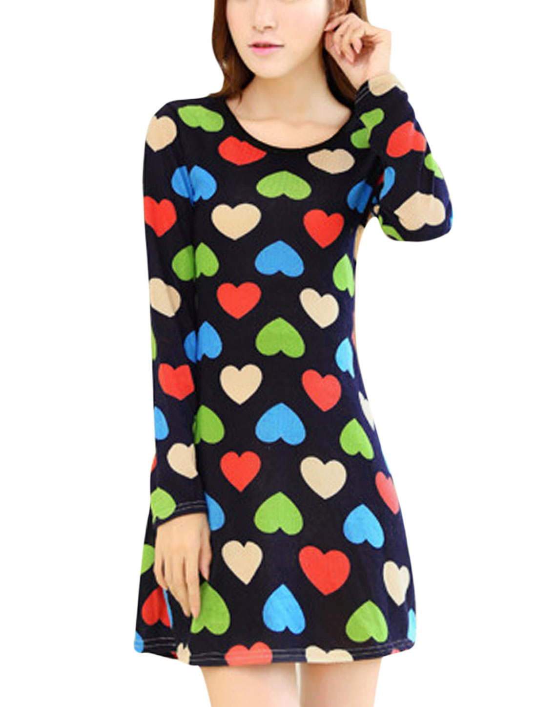 Lady Round Neck Hearts Pattern Long Sleeve Tunic Dress Navy Blue XS