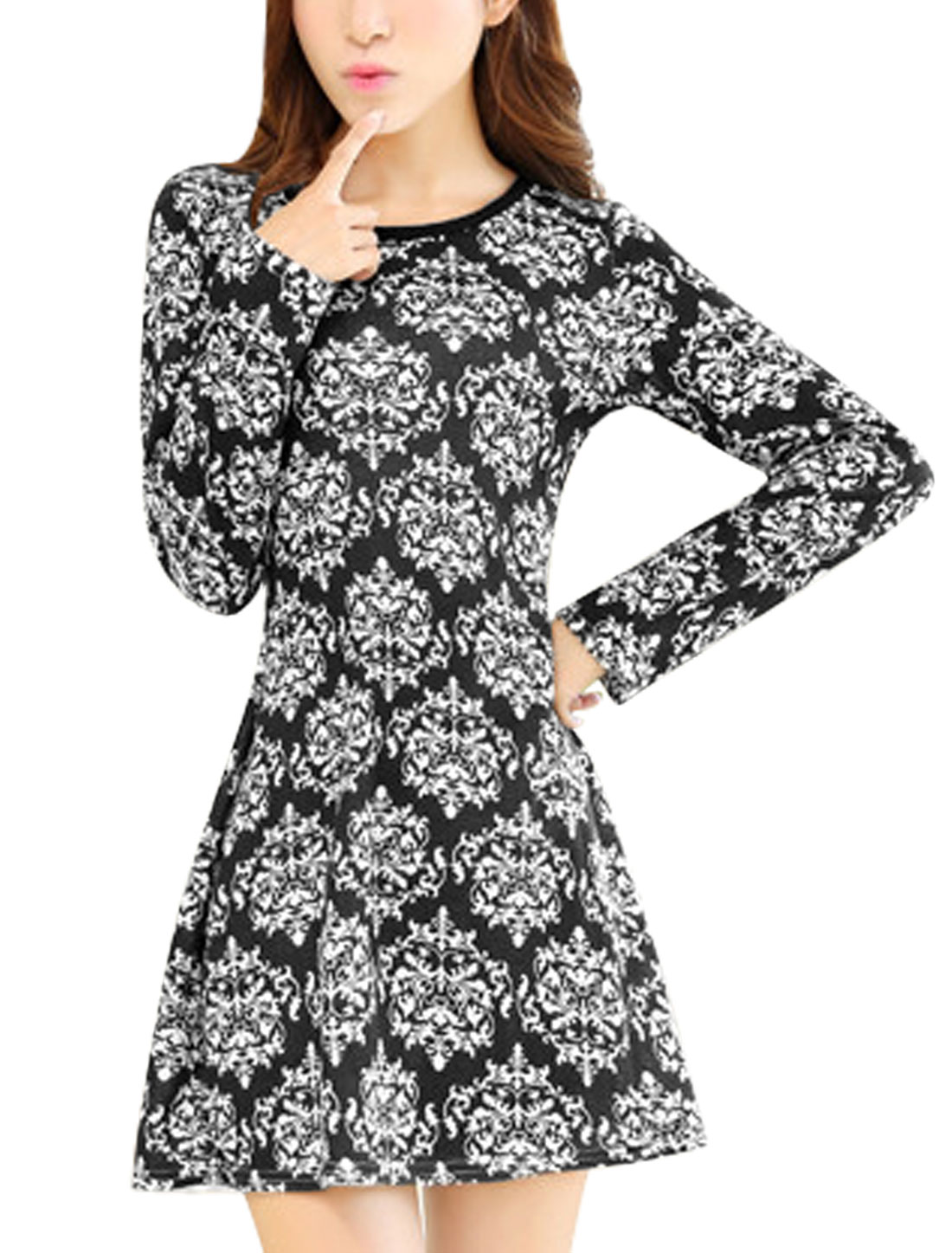 Ladies Jacquard Pattern Long Sleeves Slipover Knit Dress Black White XS