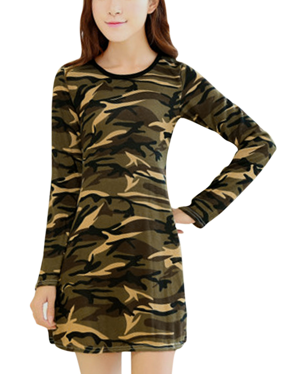 Ladies Long Sleeve Slim Fit Camouflage Pattern Straight Dress Army Green XS