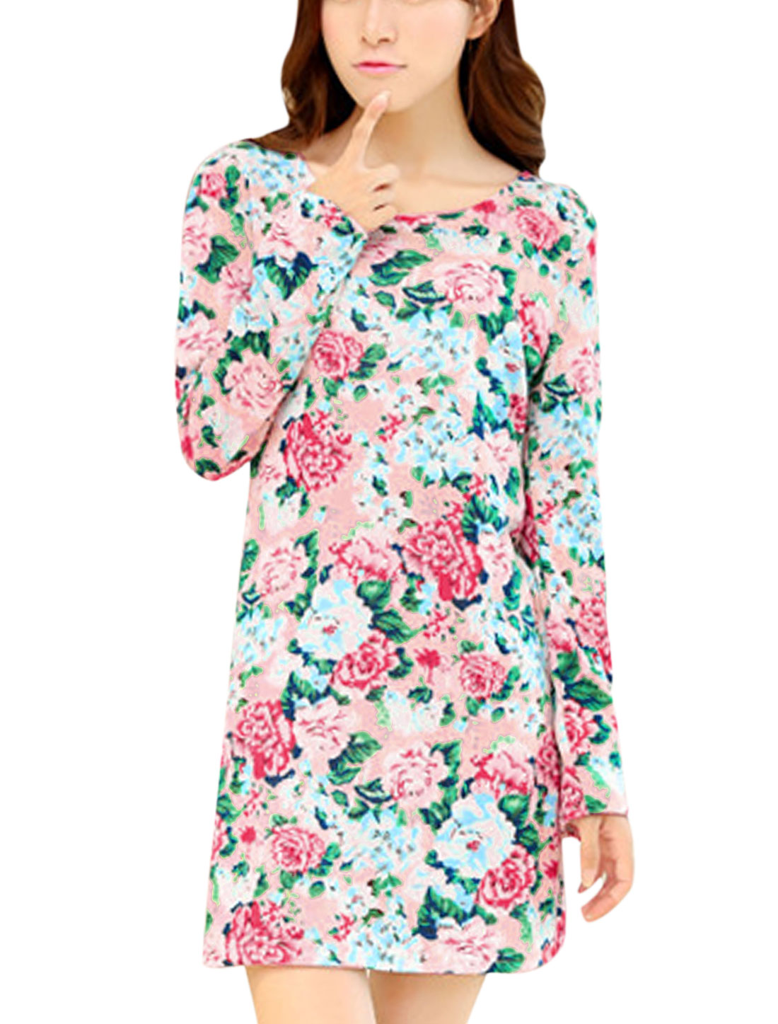 Ladies Multicolor Long Sleeves Round Neck Pullover Floral Prints Knit Dress S