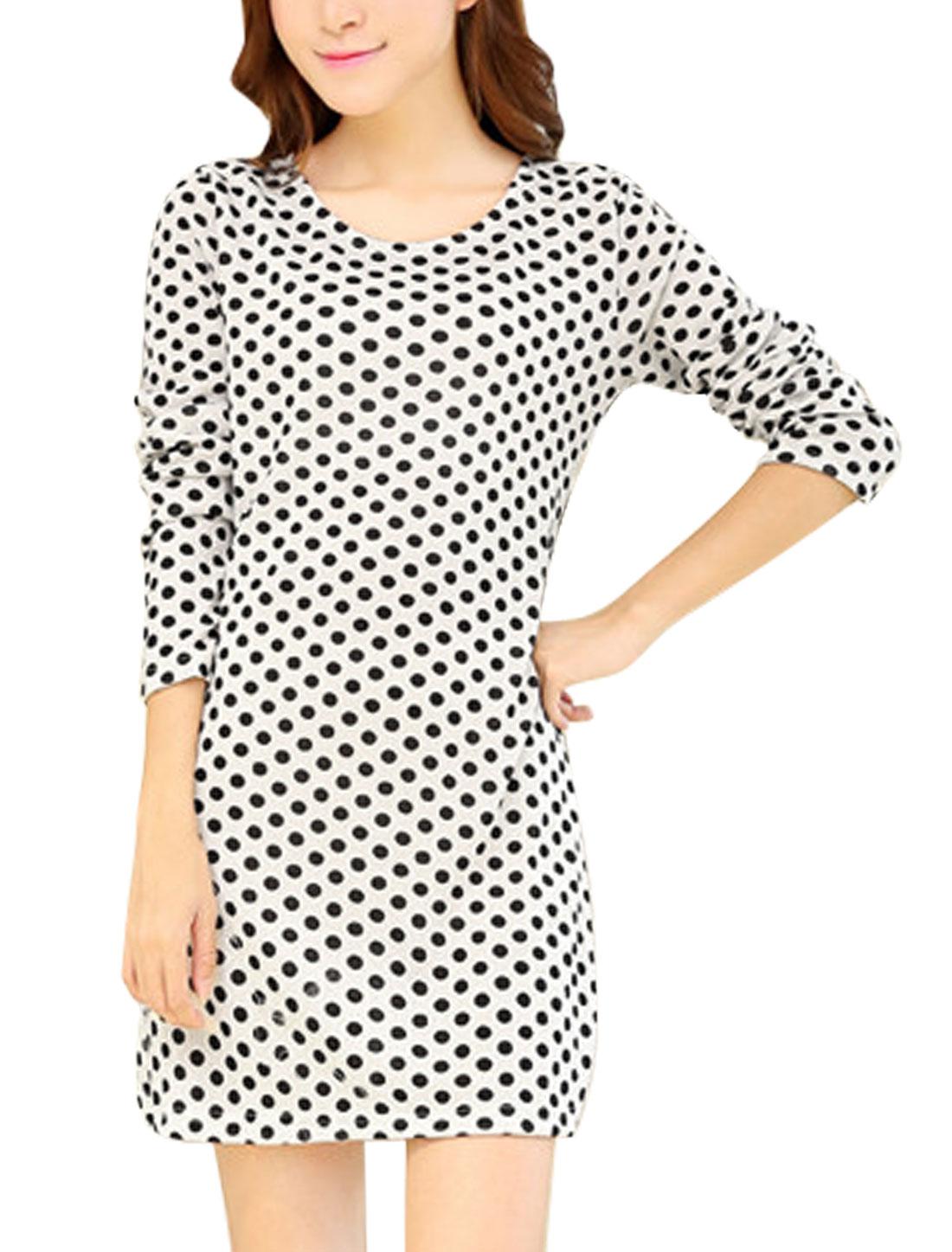 Lady Dots Pattern Long Sleeves Light Knit Straight Dress Beige S