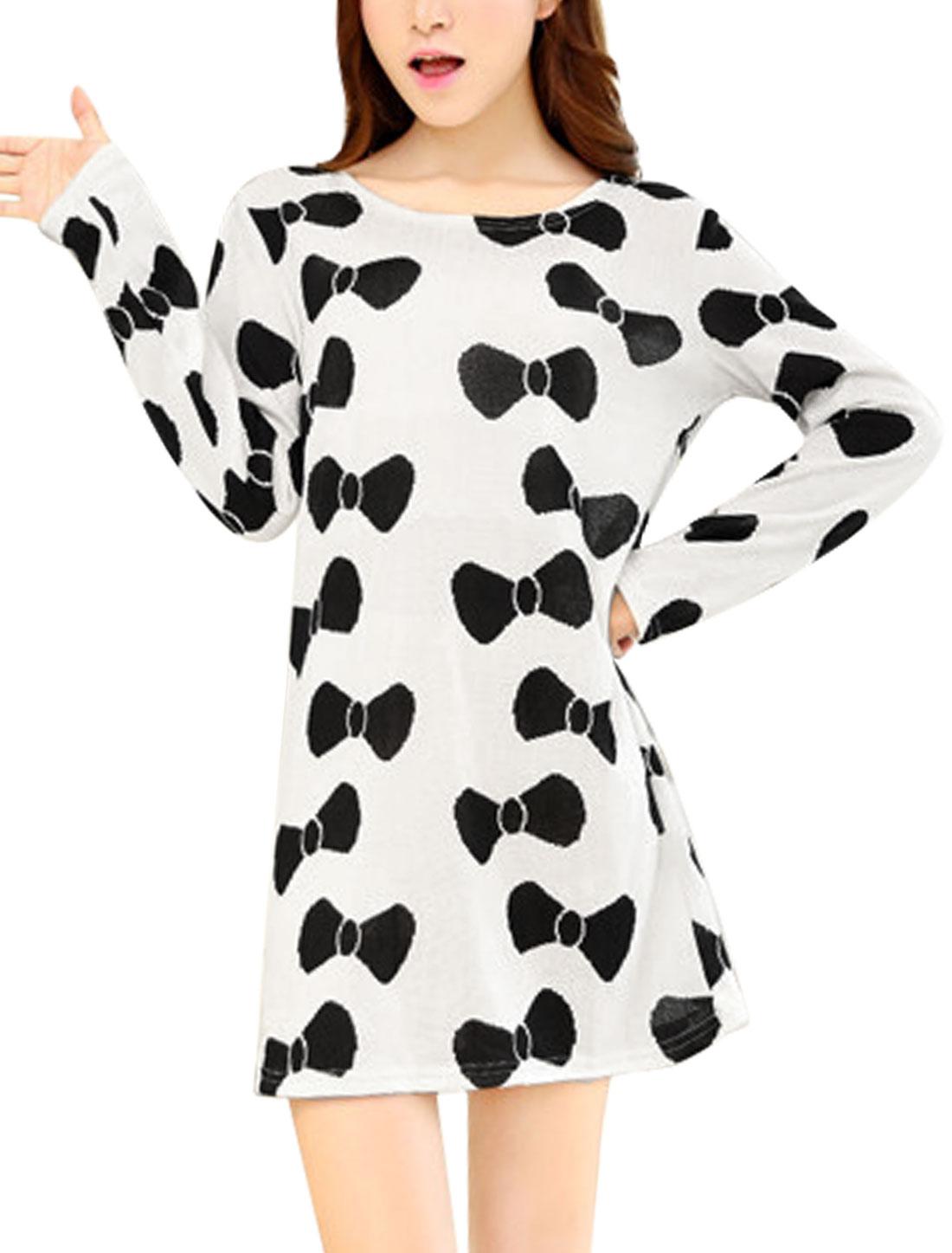 Women Bowknot Pattern Long Sleeve Light Knit Straight Dress Beige S