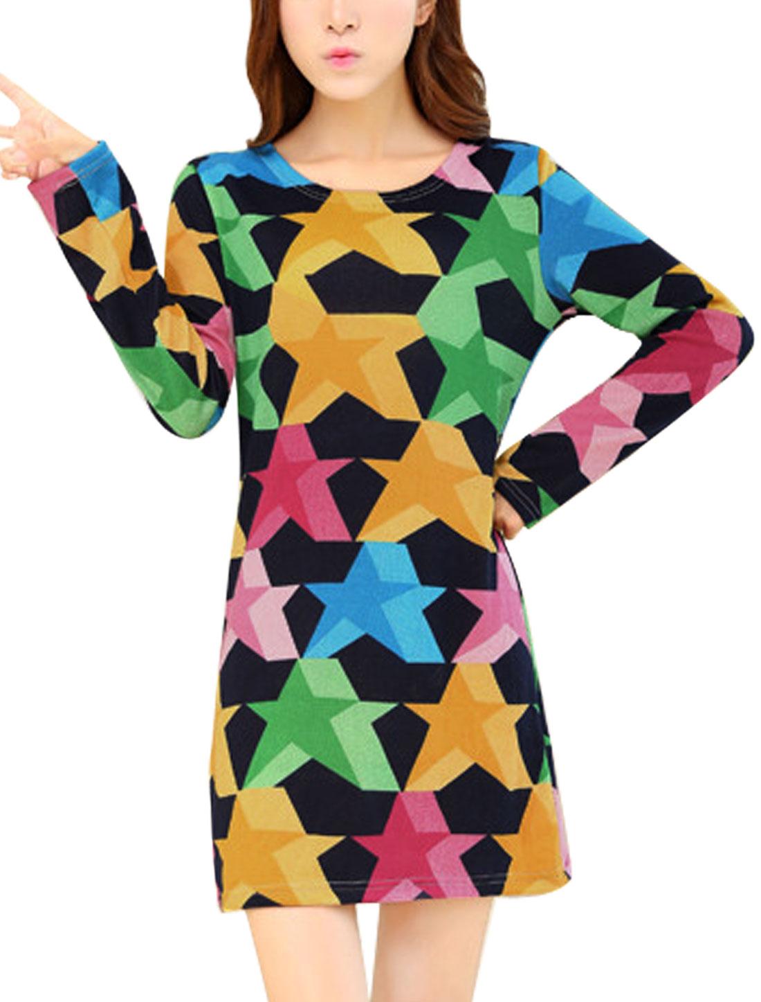 Women Stars Pattern Long Sleeve Knit Straight Dress Multicolor S