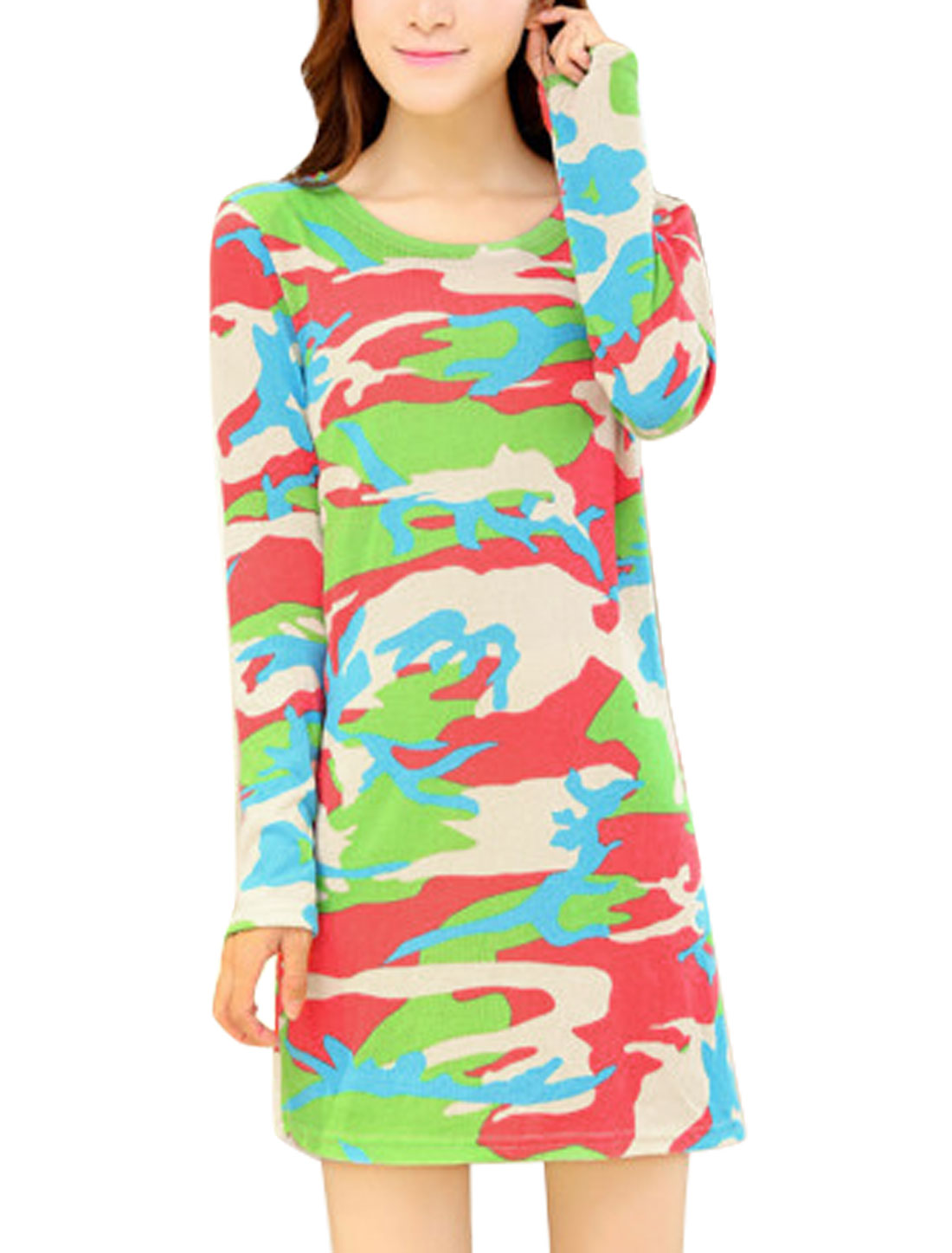 Ladies Cloud Pattern Long Sleeves Knit Straight Dress Multicolor S