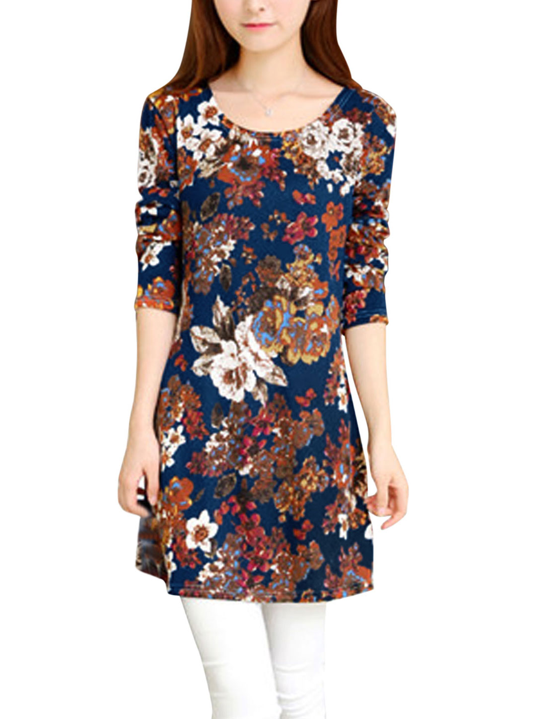 Ladies Navy Blue Brown Long Sleeves Flower Pattern Pullover Knit Dress S