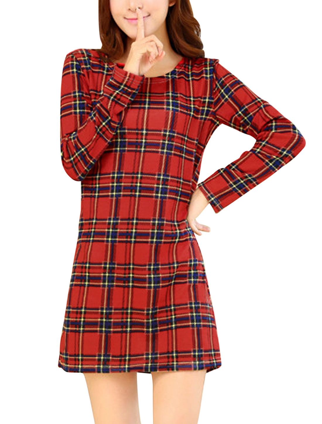 Women Red Round Neck Long Sleeves Plaids Knitting Shift Dress S