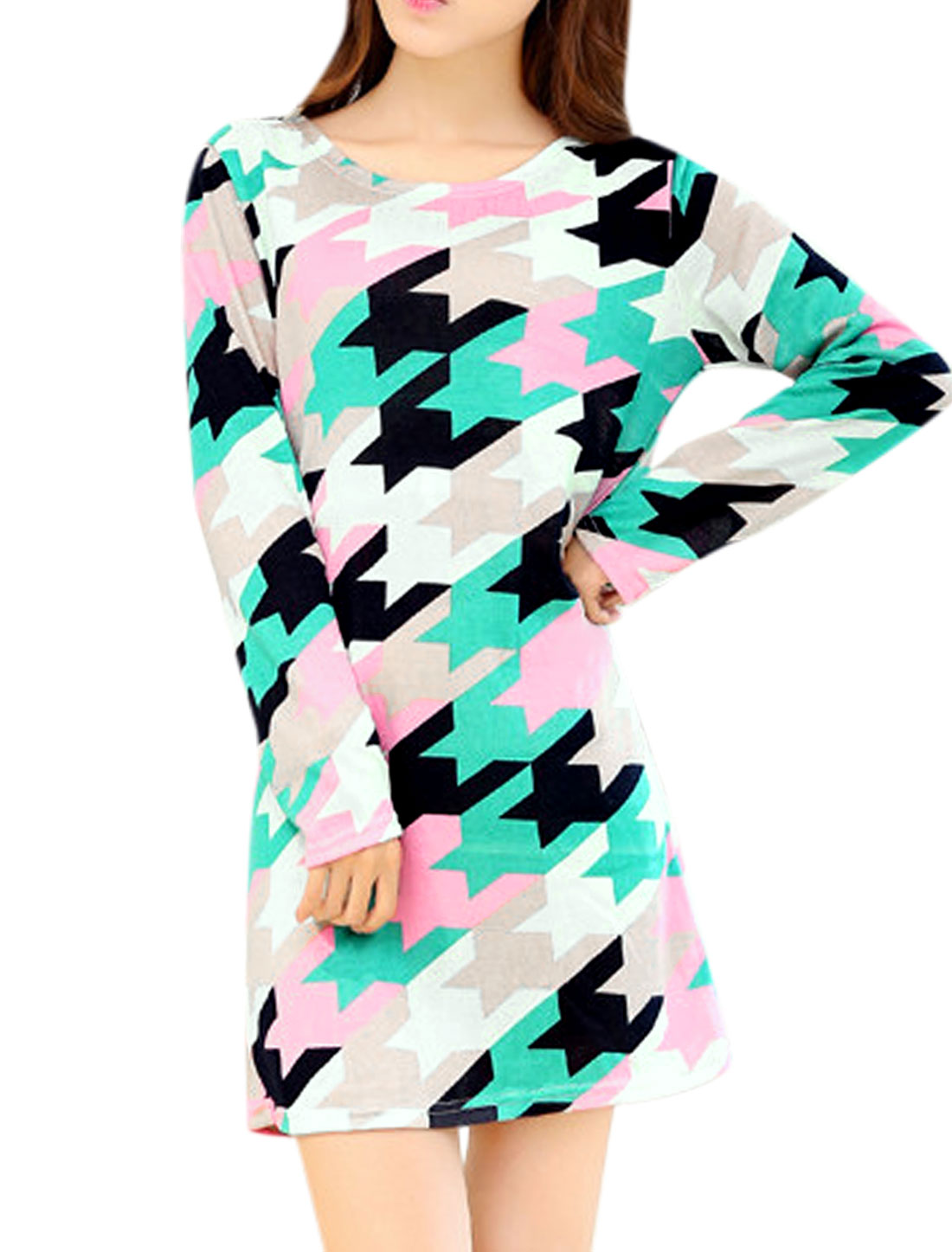 Women Multicolor Round Neck Long Sleeves Houndstooth Pattern Knitting Shift Dress S