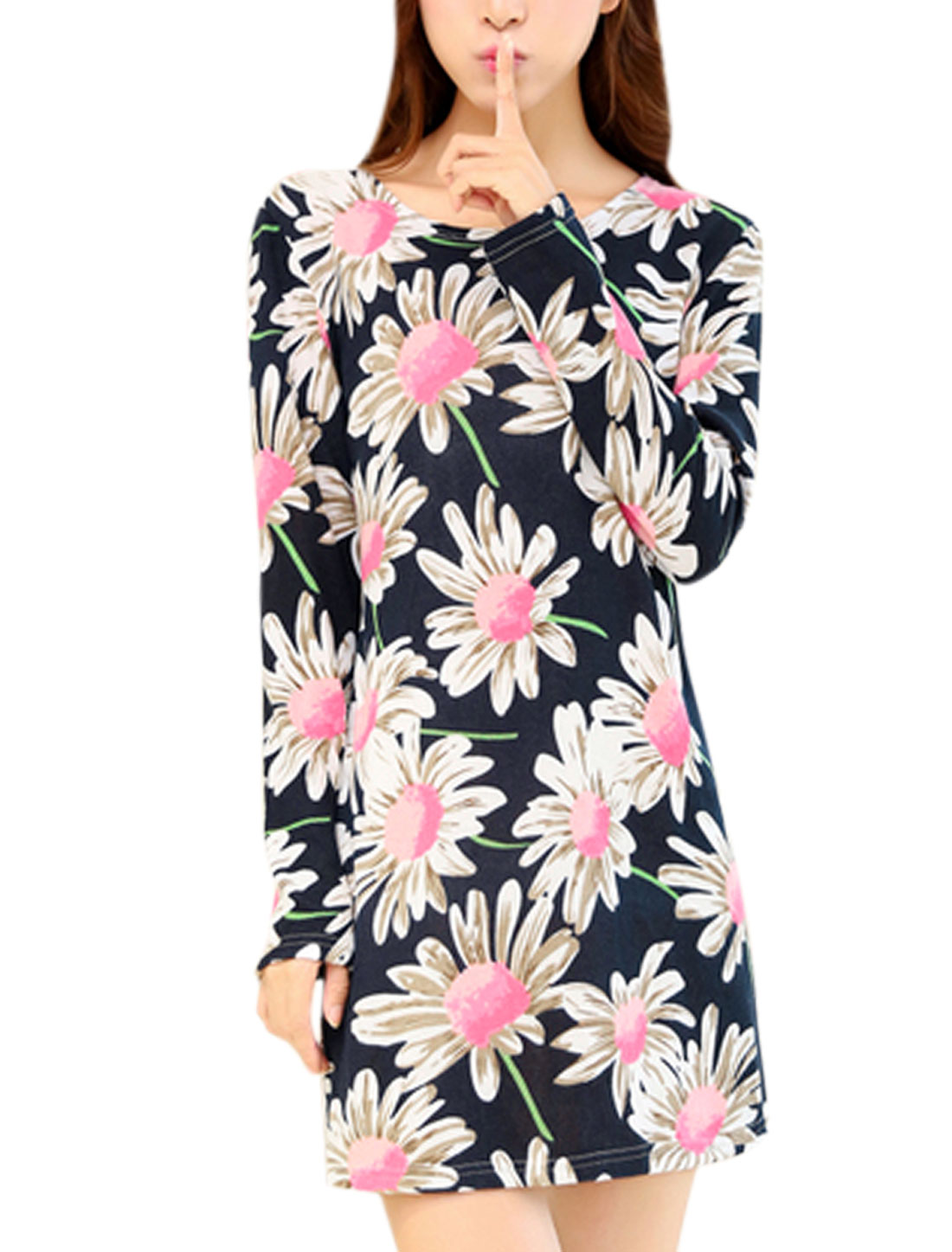 Women Floral Pattern Full Sleeves Stylish Straght Knit Dress Navy Blue S