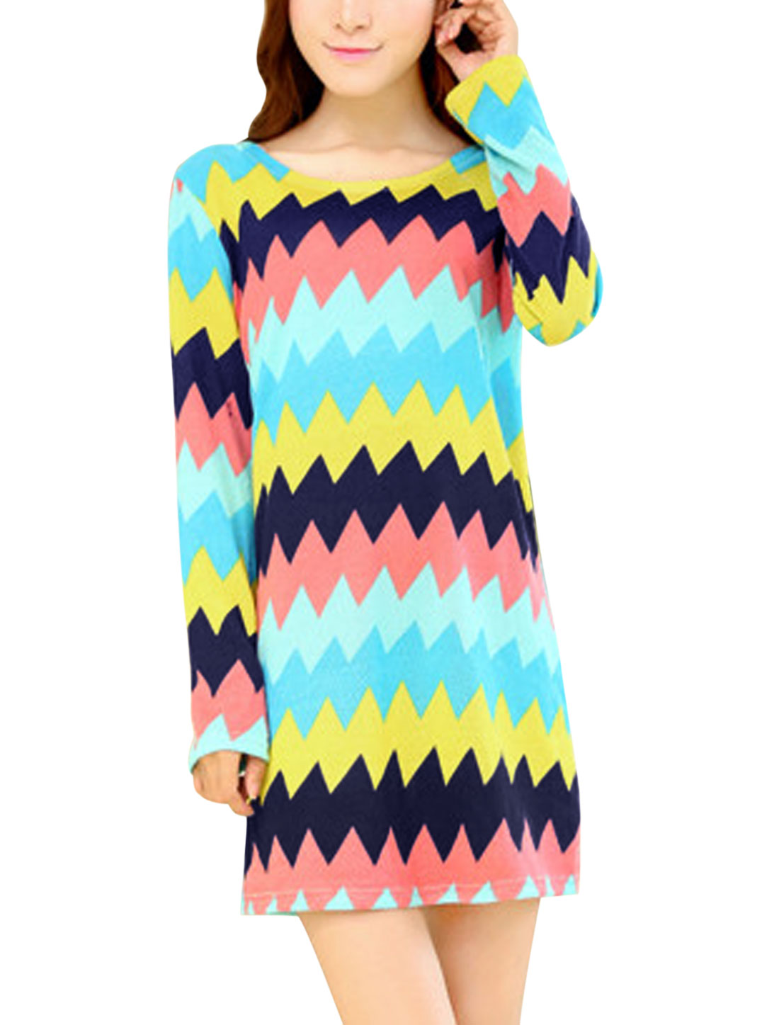 Women Multicolor Round Neck Long Sleeves Zig-Zag Pattern Knitting Shift Dress S