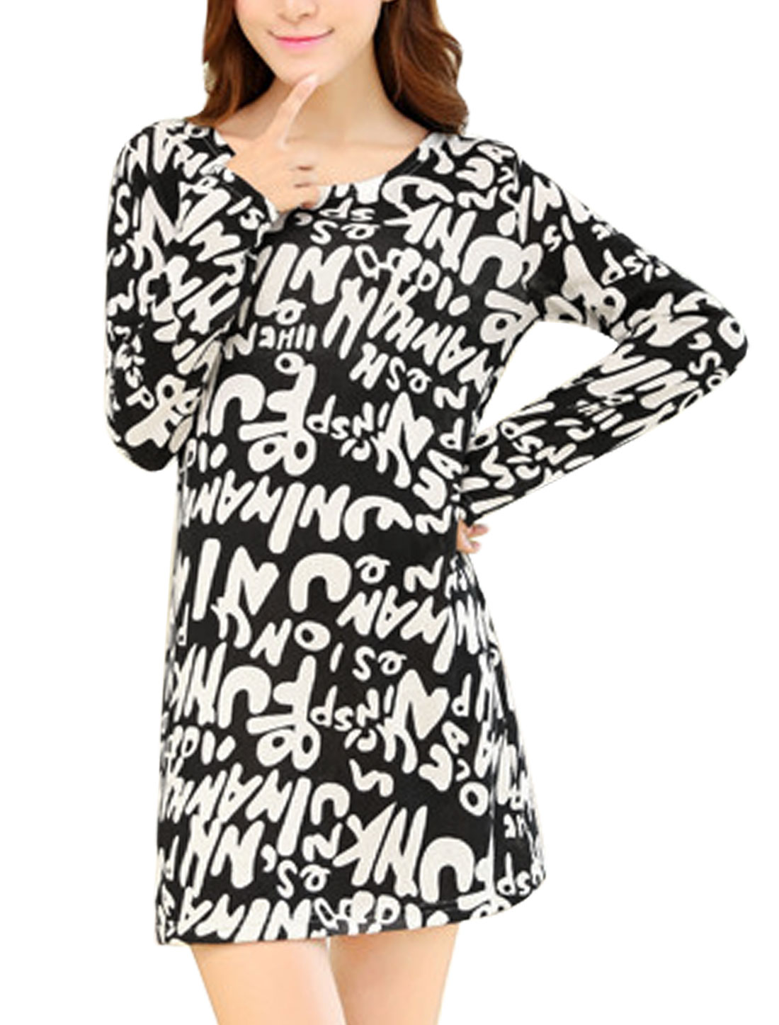 Women Letters Pattern Long Sleeves Knit Straight Dress Black S