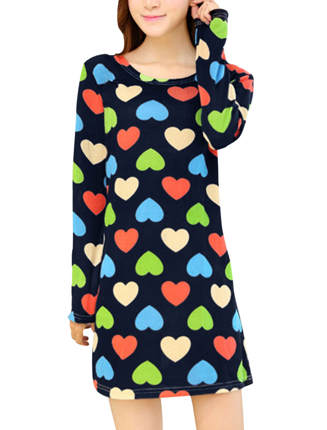 Women Black Round Neck Hearts Pattern Long Sleeves Knitting Shift Dress S