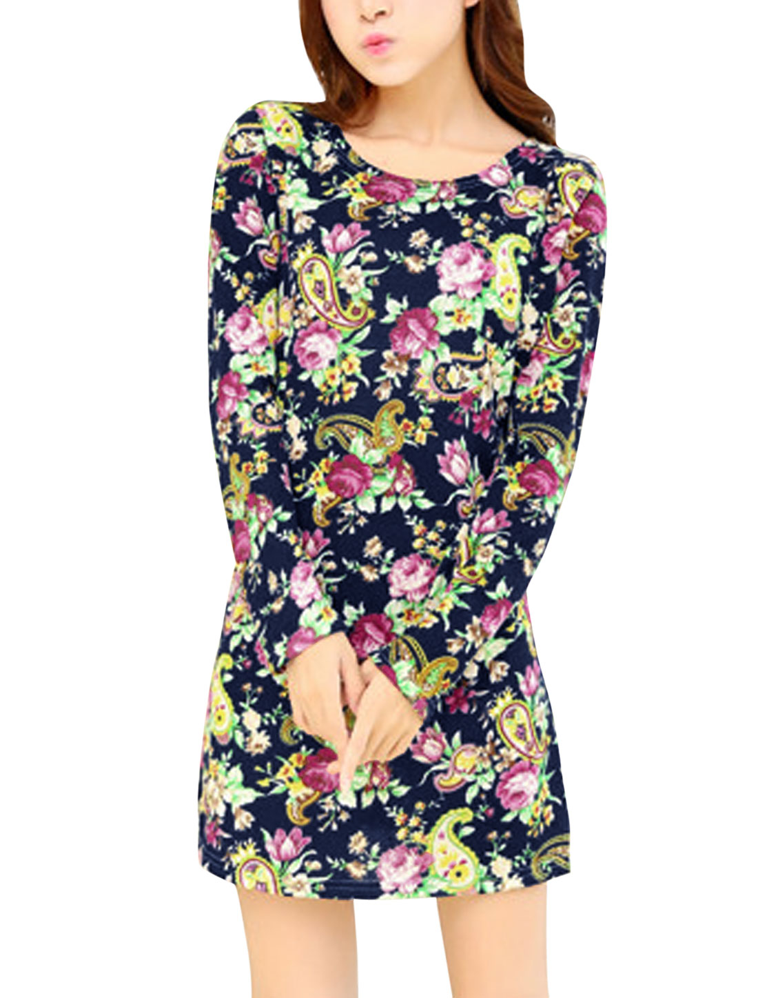New Style Floral Pattern Fashion Slim Straight Dress for Lady Black S