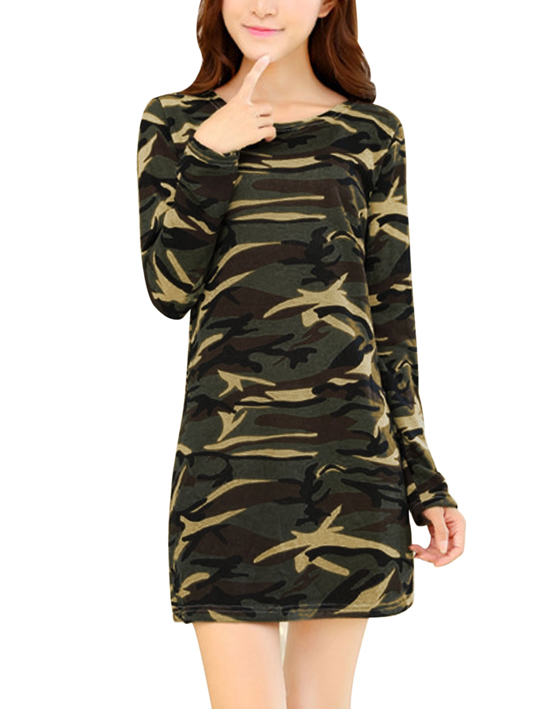 Women Army Green Round Neck Camouflage Pattern Knitting Shift Dress S