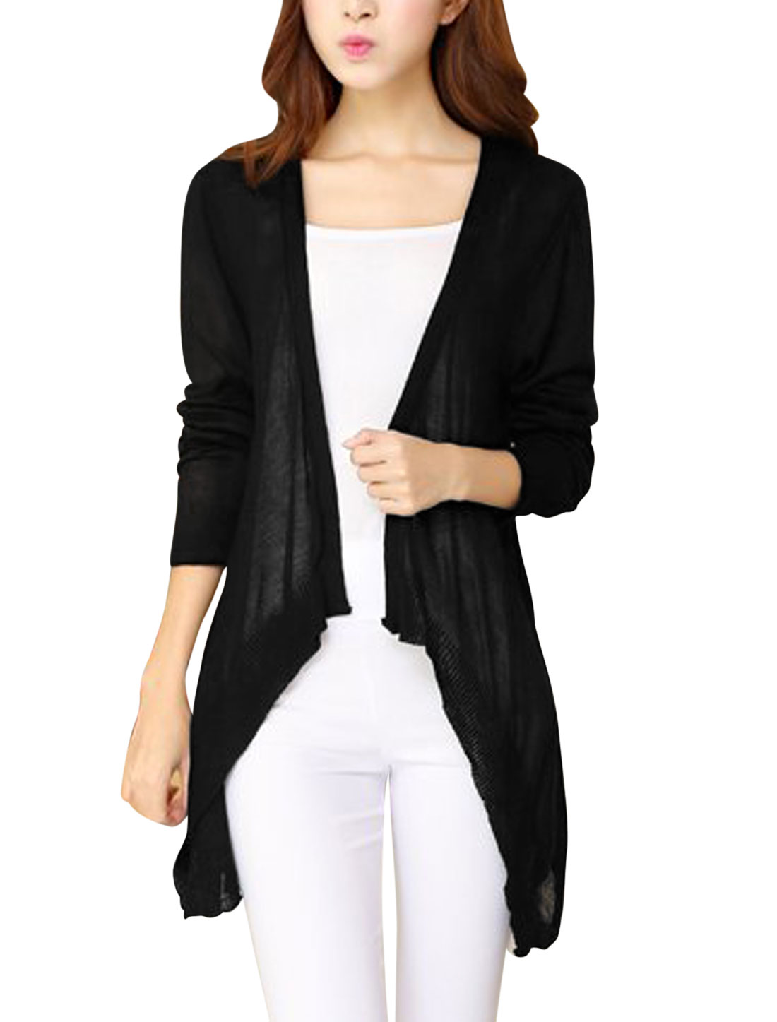 Women Long Sleeves Front Open Irregular Hem Knit Cardigan Black XS