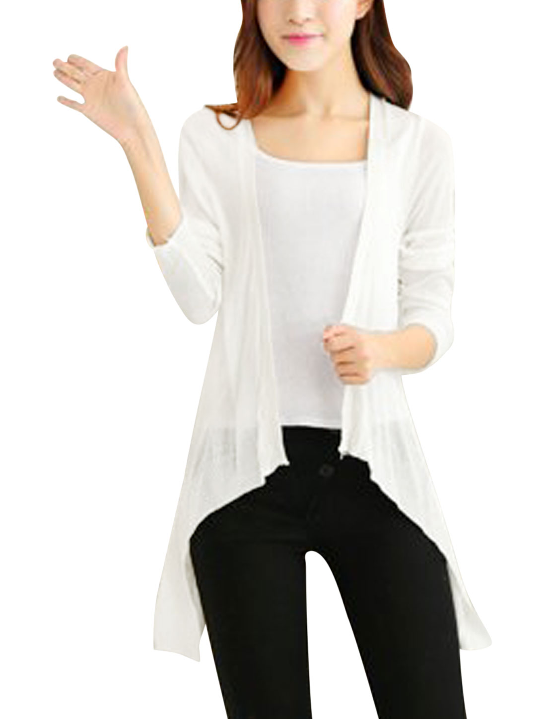 Ladies Draped Front Long Sleeves Light Knit Cardigan White XS