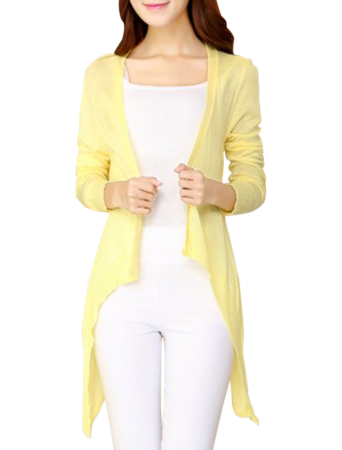 Woman Open Front Irregular Hem Casual Light Yellow Knit Cardigan XS