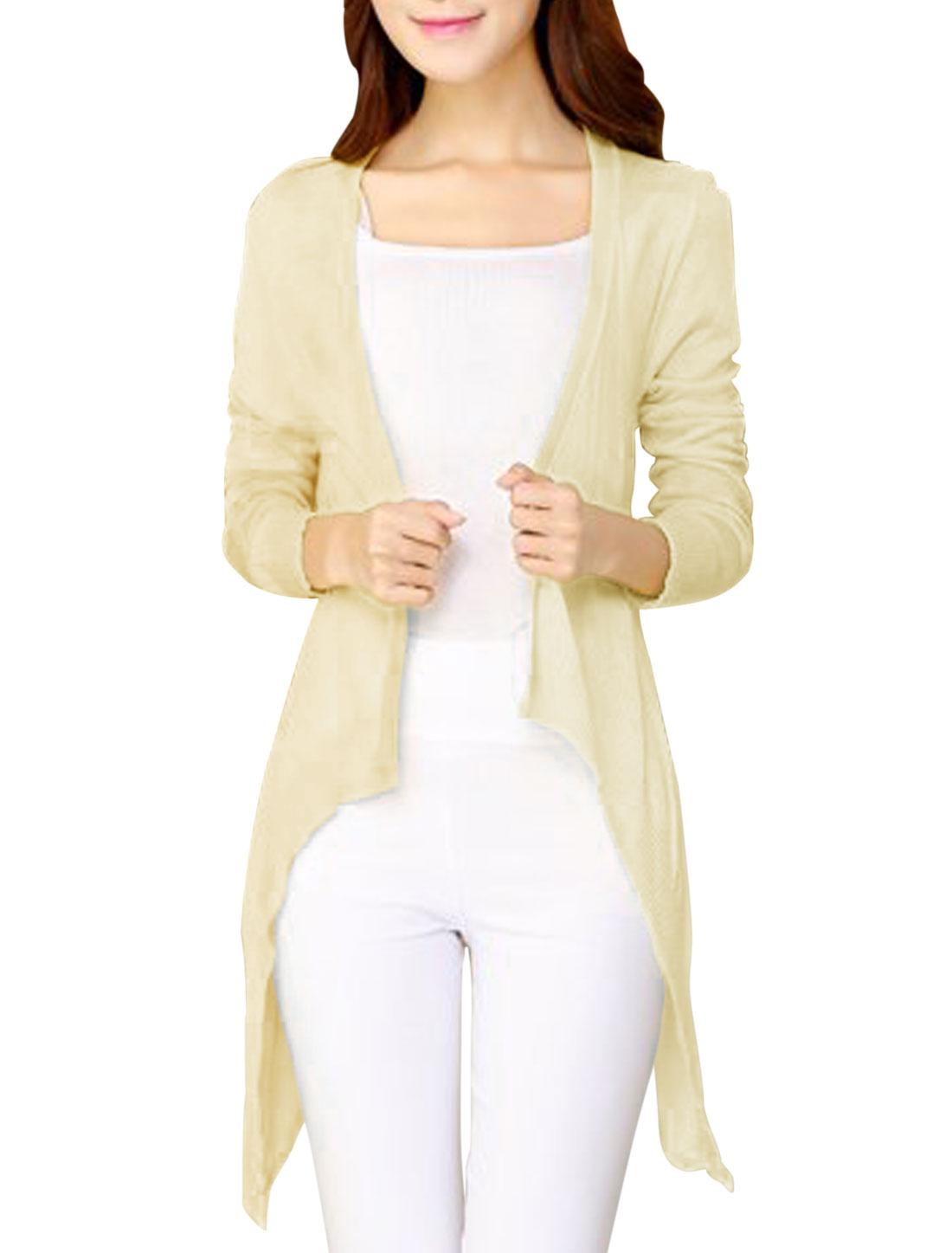 Women Irregular Hem Semi-Sheer Design Beige Knit Cardigan XS