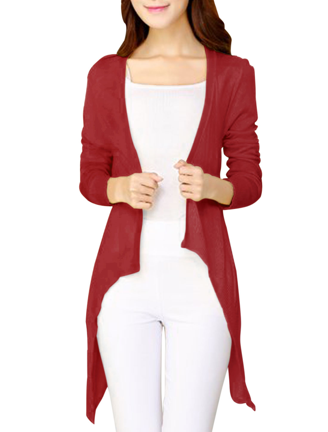 Opening Front Draped Front Burgundy Knit Cardigan for Women XS