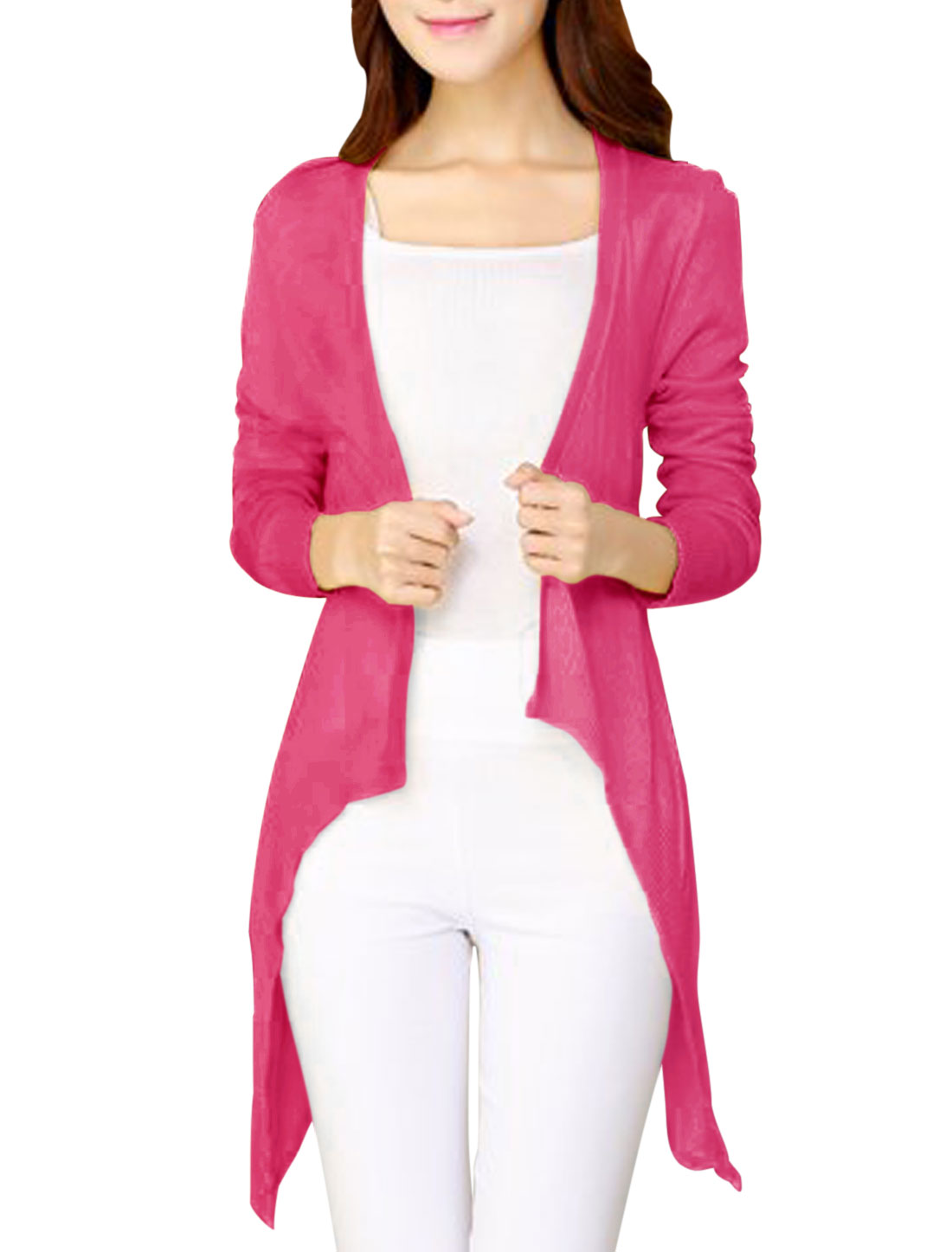 New Style Long Sleeve Front Open Fuchsia Knit Cardigan for Lady XS