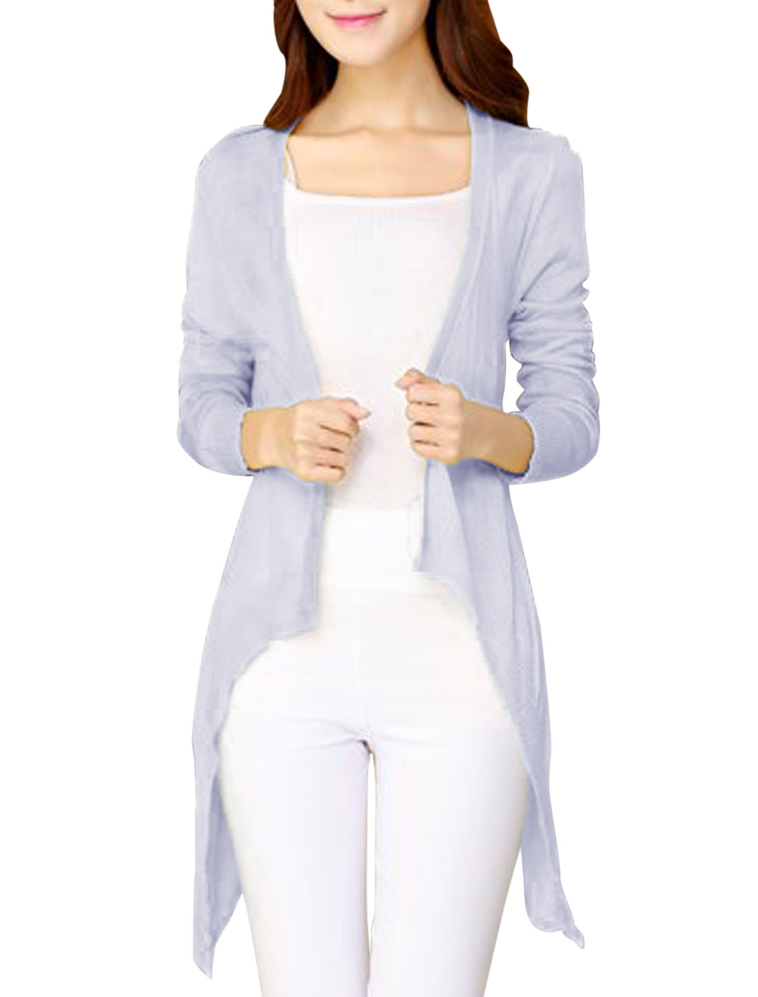 Leisure Semi-Sheer Draped Front Light Purple Knit Cardigan for Lady XS